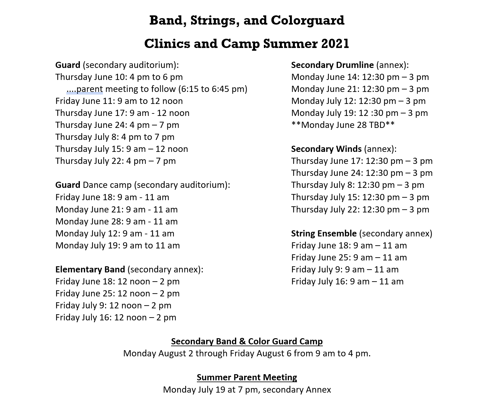 Clinics and Summer Camps